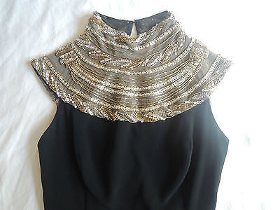 ~ BOB MACKIE EVENING BLACK DRESS W/ GOLD BEADED NECKLINE (TOTAL STUNNER!) 4
