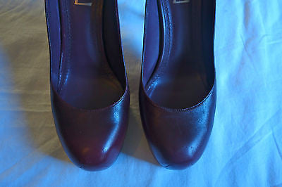 YVES SAINT LAURENT YSL OMBRE PLUM LEATHER TRIBUTE TOO PLATFORM HEELS PUMPS  38