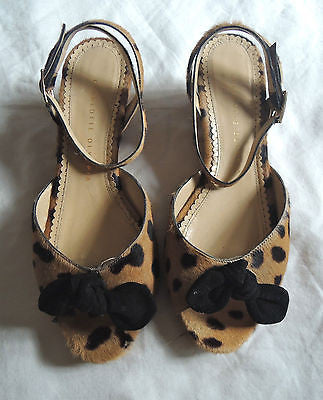 ~ CHARLOTTE OLYMPIA LEOPARD ALEXA ANKLE STRAP WEDGES / SANDALS (SO GOOD!)  ~ 38