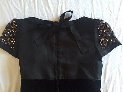 ~RARE PRADA BLACK & GOLD BEADED CAP SLEEVE COCKTAIL DRESS (STUNNING!) ~ 38