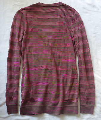 ~ MISSONI PURPLE PINK & BROWN STRIPED CASHMERE SILK KNIT CARDIGAN SWEATER ~ 40