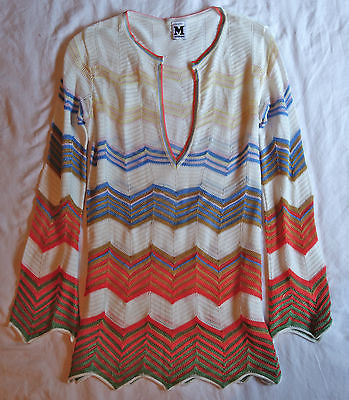 ~ MISSONI IVORY ORANGE AND BLUE CHEVRON KNIT SWEATER (CURRENT!)~ 40