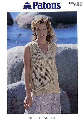 Ladies Long Sleeveless Top Knitting Pattern - Patons 5279