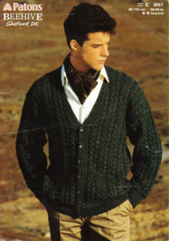 Men's V Neck Cable Cardigan - Patons 3561