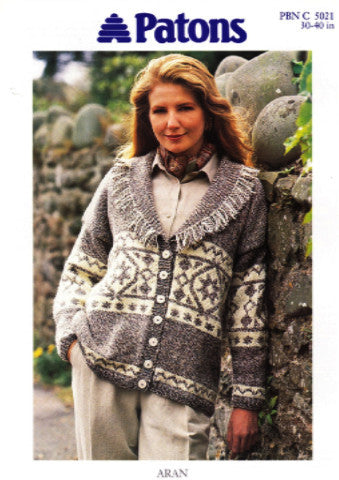 Ladies Shawl Collar Aran Jacket Knitting Pattern - Patons 5021