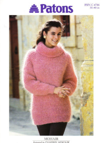 Ladies Ribbed Mohair Sweater Knitting Pattern - Patons 4786
