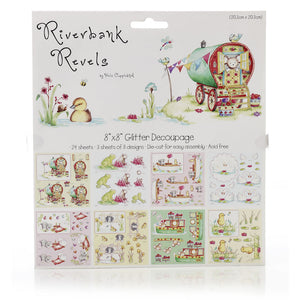 Riverbank Revels 8 x 8 Glitter Decoupage – 24 sheets