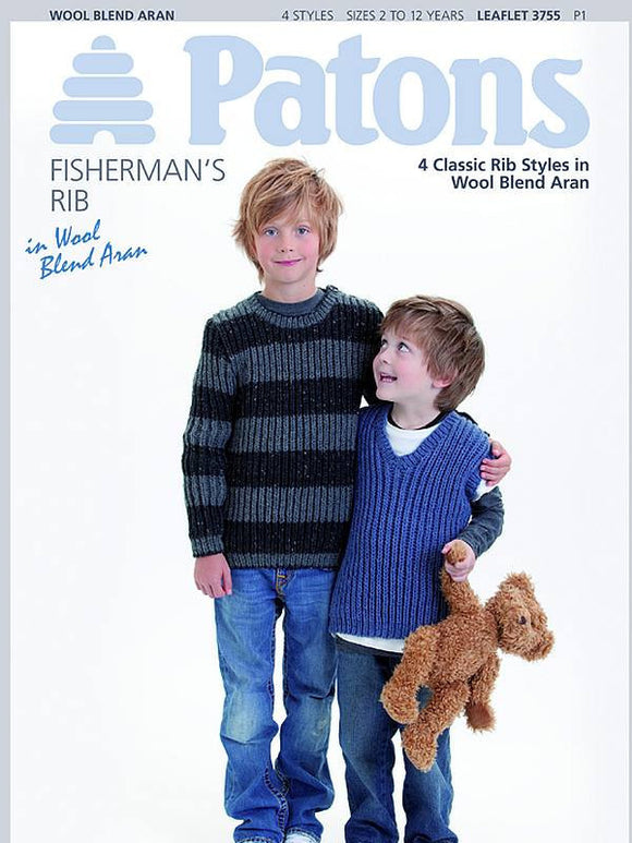 Child's Fisherman's Rib Sweaters in Aran - Patons 3755