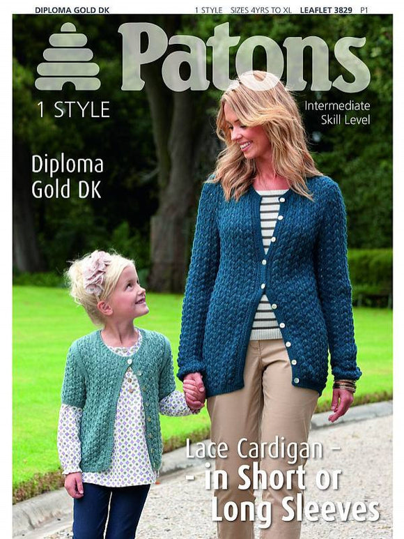 Lace Cardigan Knitting Pattern - Patons 3829
