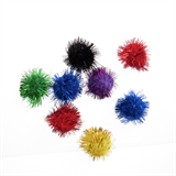 Glitter Pompom: 1.3cm (1/2in): Assorted Colours: Pack 12
