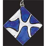 Deluxe Glass Pendant - Silver Square/Navy Patches