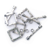 Toggle Clasp - Square - 7 x 24mm: Silver Plated