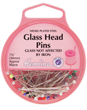 Glass Head Pins: Nickel - 34mm