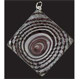 Deluxe Glass Pendant - Square Black Spiral
