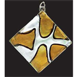 Deluxe Glass Pendant - Silver Square/Gold Patches