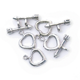 Toggle Clasp - Heart - 13 x 17mm: Silver Plated