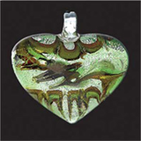 Deluxe Glass Pendant - Heart Grass Green/Silver