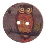 Patterned Button - Owl Size 30mm