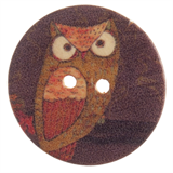 Patterned Button - Owl: 32 Lignes/20mm