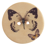 Patterned Button Butterfly: 32 Lignes/20mm