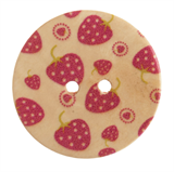 Patterned Button Strawberry: 32 Lignes/20mm