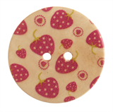Patterned Button Strawberry: 40 Lignes/25mm