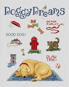 Doggy Dreams Cross Stitch Chart (w/charm)