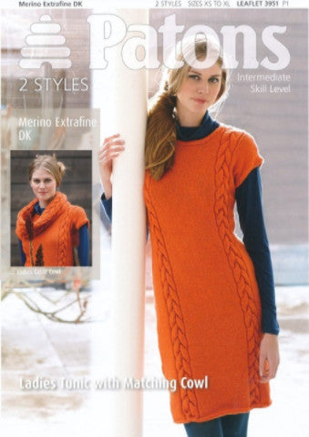 Ladies Cable Tunic With Matching Cowl Knitting Pattern - Patons 3951