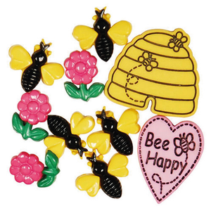 Novelty Buttons - Bee Happy