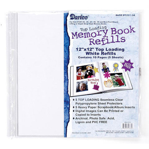 Darice Top Loading White Memory Book Refills 12 x 12 inch