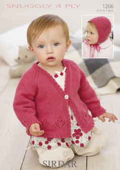 Sirdar 1206 Children's Cardigan and Bonnet Knitting Pattern - 4 Ply