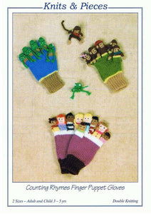 KP-13 Knits & Pieces Knitting Pattern -  Counting Rhymes Finger puppet Gloves
