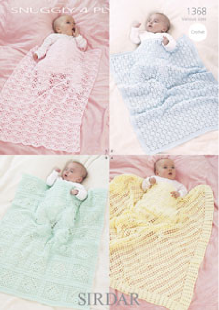 Baby Blankets in Snuggly 4-Ply - Crochet Pattern - Sirdar 1368