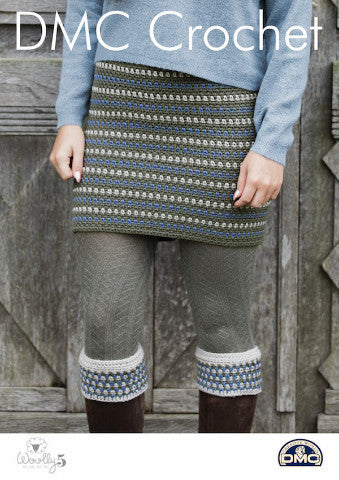 Ladies Tweedie Skirt and Boot Cuffs - DMC Crochet Pattern
