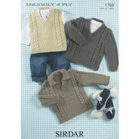 Sirdar Knitting Pattern 1769 - Baby/Kids Slipover and Sweaters - 4-ply