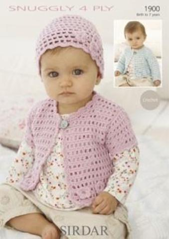 Sirdar 1900 - Baby Cardigan and Hat Crochet Pattern - 4 Ply