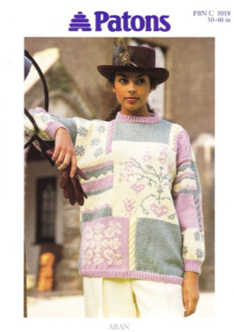 Ladies Snowflake Sampler Sweater/Tunic Knitting Pattern - Patons 5018