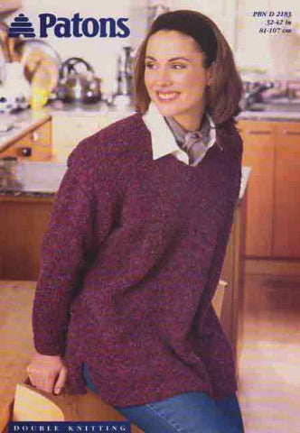 Ladies V Neck Sweater/Tunic Knitting Pattern - Patons 2183