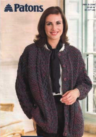 Ladies Long Cabled Cardigan Knitting Pattern - Patons 2188