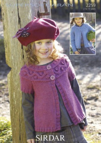 Girls Patterned Yoke Cardigan Knitting Pattern - Sirdar 2259