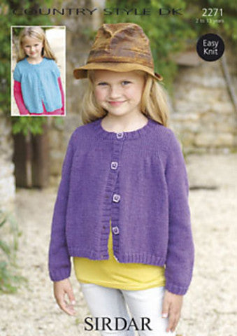Girls Round Neck Cardigan Knitting Pattern - Sirdar 2271