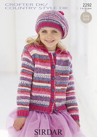 Girls Striped Cardigan with Collar and Beret Knitting Pattern - Sirdar 2292