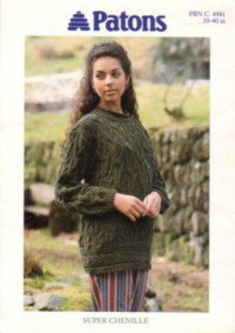 Ladies Cable Sweater/Tunic Knitting Pattern - Patons 4981