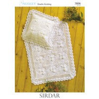 Sirdar Knitting Pattern 3806 - DK Baby Blanket & Pillow Case