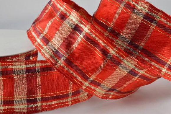 Wired Tartan Ribbon - Red - 40mm Wide