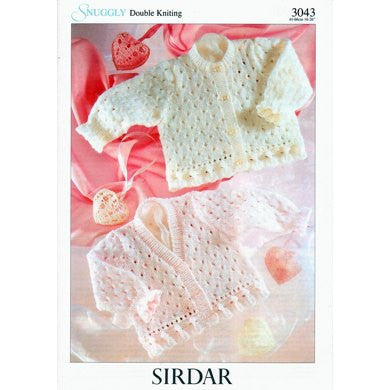 Sirdar Knitting Pattern 3043 - Baby/Kids Round and V Neck Cardigan