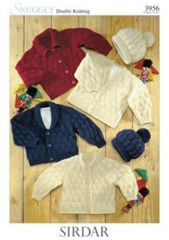 Sirdar Knitting Pattern 3956 - Baby - 4 Cardigans and a Hat - DK