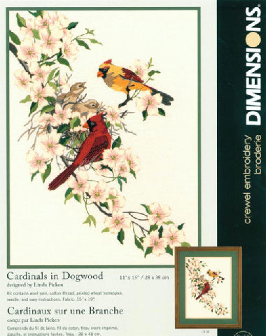 Cardinals in Dogwood Crewel Needlework Kit by Dimensions