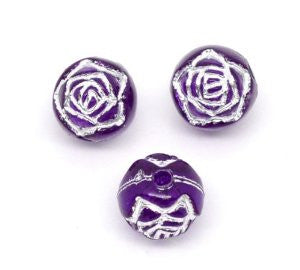 Purple/Silver Foil Round Acrylic Bead