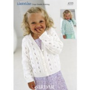 Sirdar Knitting Pattern 4335 - Kids Cardigan with Ribbed or Frilled Edge - DK